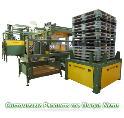Ouellette Machinery Systems Bulk Low and High Level Palletizers and DePalletizers are Customizable to your bottling needs.