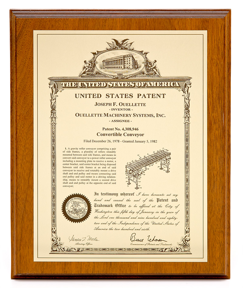 Ouellette Machinery Systems - Palletizing Systems' Patents in the 1980s