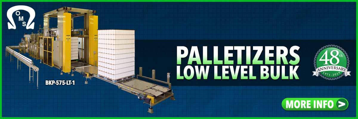 palletizers low level infeed bulk